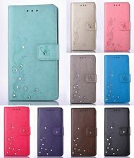 3D Diamond Bling Embossed Flip Wallet Book Style PU Leather Case Cover For Phone