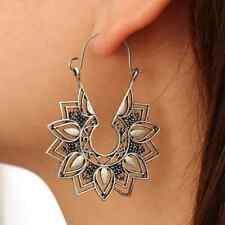 UK BOHO CHIC FLORAL MANDALA HOOP EARRINGS Silver Fashion Festival Jewellery Gift