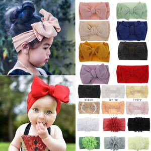 Handmade Baby Girls Large Bow Headband Infant Toddler Knot Hair Band Head Wraps