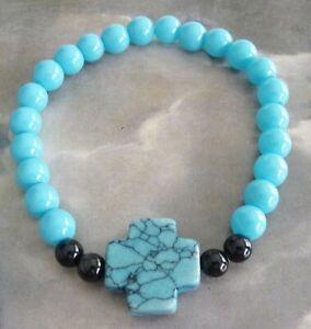 New Handmade Christian Magnesite Stone Cross Glass Agate Beads Stretch Bracelet
