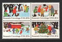 Scott# 2027-30 - 1982 Commemoratives - 20 cents Seasons Greetings Block