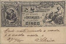 BRAZIL BANKNOTE 5 MIL REIS BILHETE POSTAL LIVRARIA ECONOMICA