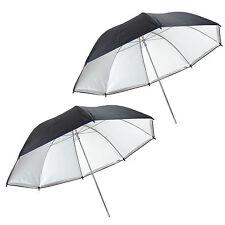 2x Parapluie Studio Reflecteur Diffuseur Détaché DynaSun UR05 2en1 Argent/Blanc