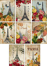 Vintage inspired Roses butterfly Eiffel Tower Paris cards set 8 with envelopes