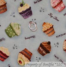 BonEful Fabric FQ Cotton Quilt VTG Blue Birthday CUP*CAKE Chocolate Cherry Berry