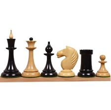"""1950's Soviet Latvian Reproduced Chess Pieces only set- Ebonised Boxwood - 4.1"""""""
