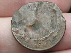1866 Two 2 Cent Piece- Civil War Type Coin, Broken Planchet? Unique