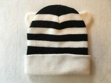 848320586c3 Target Black and White Striped Girls Kitty Ears Knit Winter Hat One Size