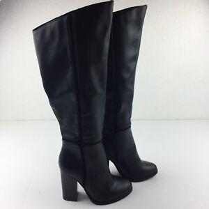 A+ Kameel Women 6.5 Black Faux Leather Tall Fashion Riding Boots Full Side Zip