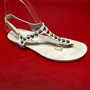 Pedro Garcia Judith Swarovski Crystals Cone Studs Off White Slingback Sandals 37