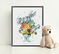 ALICE IN WONDERLAND RABBIT Print Watercolor Framed Poster Canvas Wall Art