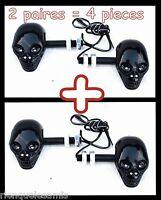 X2 paire Clignotant Tête de Mort Skull NOIR & Diodes pour moto custom quad trike
