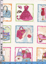 Fabric Makower GLAMOUR FASHION POSTCARD PANELS HATS DRESSES SHOES HANDBAGS