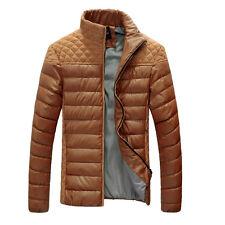 New Winter Warm Men's Slim Casual Faux Leather Parka Jackets Coats Khaki N162