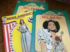 Uncut paper doll book lot two Miss America Golden and one Miss America Whitman