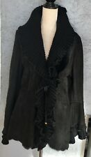 Designer Blk. Fitted Shearling Jacket,  Knit Collar and Trim Made in Italy S46 L