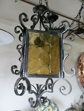 Lanterna lampada lampione 4 vetri quadrato in ferro battuto con vetri e ricci