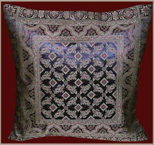 Brocade Silk Pillow Cover in  Black Color with Red and Gold Color from India