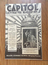 1933 Capitol Theatre Magazine New York Major Bowes Director Beauty for Sale