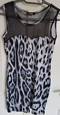Tunic Style Top, Black and White Shiny Leopard Print & Mesh Top, Size 6 / 8, VGC