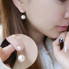 Sale Women Stud Earrings Gold Filled Double White Freshwater Pearls EB