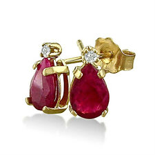 14K YELLOW GOLD 2.0CT GENUINE PEAR SHAPED RUBY AND DIAMOND STUD EARRINGS