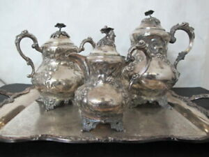c.1860 Salisbury Repousse Coin Silver 3pc Tea Set with Silver on Copper Tray