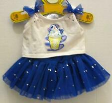 BUILD A BEAR RARE BLUE DAIRY QUEEN DQ ICE CREAM TOP TUTU SKIRT OUTFIT SET LOT