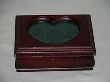 "Small Wooden Jewelry Box W/ Heart Shaped ""Rose"" Etched Glass Top"