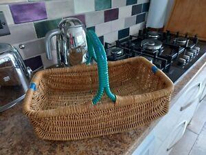 Vintage 50's Wicker Shopping Basket Carry Handle Green & Blue Plastic Trim
