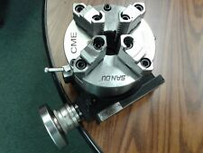 """6"""" HORIZONTAL & VERTICAL ROTARY TABLE w. 6"""" 4-jaw chuck front mount,#TSL6-3-slot"""