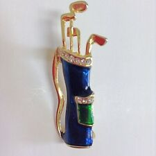 Vintage Blue Enamel Rhinestone Bag Of Golf Clubs Pin Brooch - Golf Theme