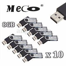 10PCS 8GB 8G MECO  USB 2.0 Flash Memory Drive Rotating Stick Pen Thumb U Disk