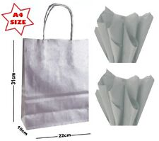Silver A4 Paper Party Gift Bags & Tissue Wrap ~ Boutique Shop Loot Carrier Bag