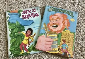 Vintage Coloring Books (2) Jack & the Beanstalk With Other Fairy Tales