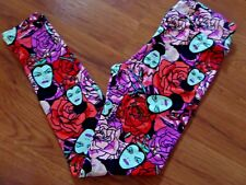 NWT LuLaRoe Disney Villians Evil Queen Roses Red Purple Leggings OS One Size