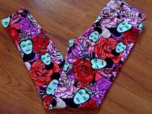 NWT LuLaRoe Disney Villians Evil Queen Roses Red Purple Leggings OS One Size