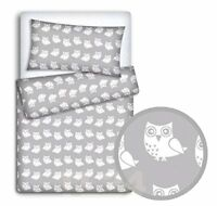 BABY BEDDING SET PILLOWCASE  DUVET COVER 2PC TO FIT BABY COT Owls grey