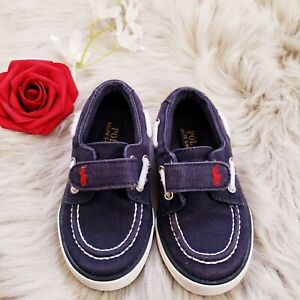 Toddler Boys Polo Ralph Lauren Shoes Blue Slip on Canvas Loafers size 7