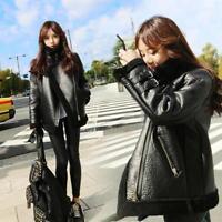 Womens Lamb Fur Leather Shearling Bomber Coats Parka Oversized Jacket Chic Sbox1
