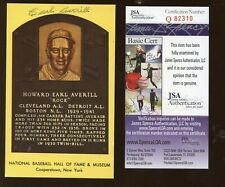 Earl Averill Autographed Yellow Hall of Fame Plaque JSA Cert