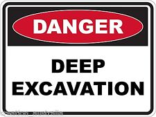 Danger Deep Excavation 5 Sticker Sign Decal Set For Public Safety WH&S OHS WHS