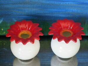 """Set of 2: Red & White Flower Candle Holders or Bud Vases ~ 2.75"""" New"""