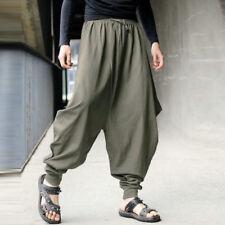 Mens Baggy Hakama Linen Trousers Casual Elastic Waist HAREM Large Lantern Pants Army Green 2xl