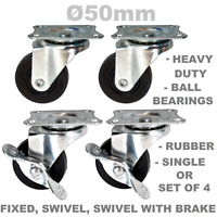 Rubber Heavy Duty Ø 50 mm Swivel or Fixed Castor Wheels as Set of 4 or Single