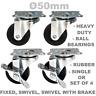 Rubber Heavy Duty Ø 50 mm Swivel or Fixed Castor Wheels as Set of 4 or Single