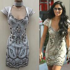 Adini asymetric hem silk devoree skirt fully lined with sequin detail bias cut