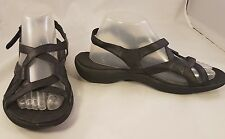 MERRELL WOMAN SANDALS BLACK LEATHER STRAPPY EXCELLENT CONDITION SIZE 9/40