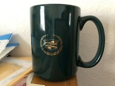 CADILLAC Motors Green Coffee Cup Gold Colored Print Mug