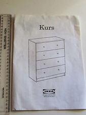 IKEA Libretto di 8 PAGINE per costruire Kurs petto con 4 cassetti 1997 documento originale